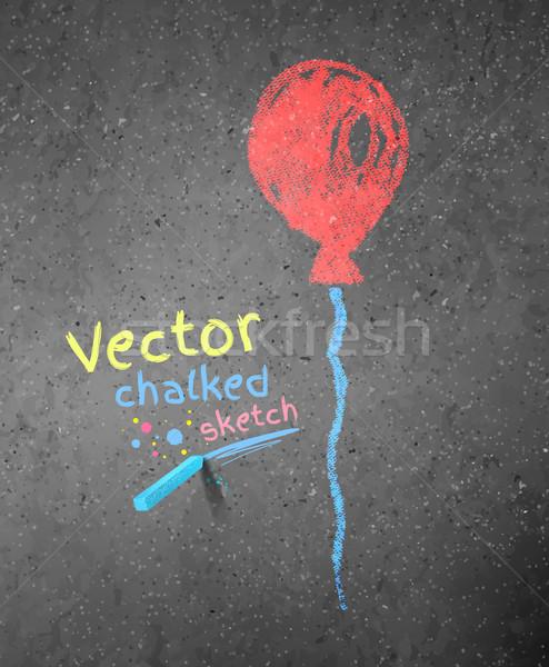 рисунок мелом красный шаре Гранж асфальт текстуры Сток-фото © Sonya_illustrations