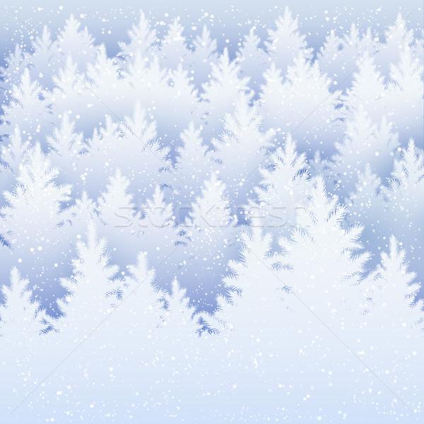 Vektör Noel kış ladin orman siluet Stok fotoğraf © Sonya_illustrations