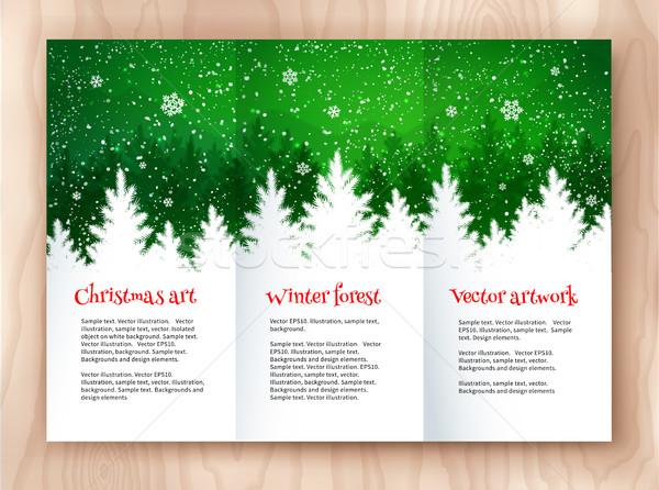 Christmas ulotka projektu biały zielone szablon Zdjęcia stock © Sonya_illustrations