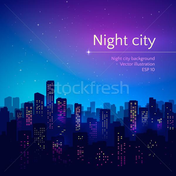 Noite noite da cidade cidade edifício arte azul Foto stock © Sonya_illustrations