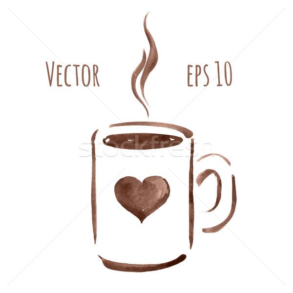 Kubek filiżankę kawy kawy akwarela szkic Zdjęcia stock © Sonya_illustrations