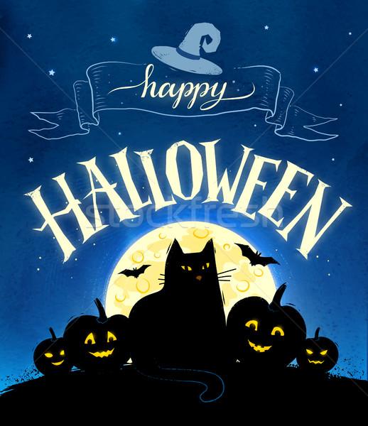 Feliz halloween vector postal luna gato negro Foto stock © Sonya_illustrations