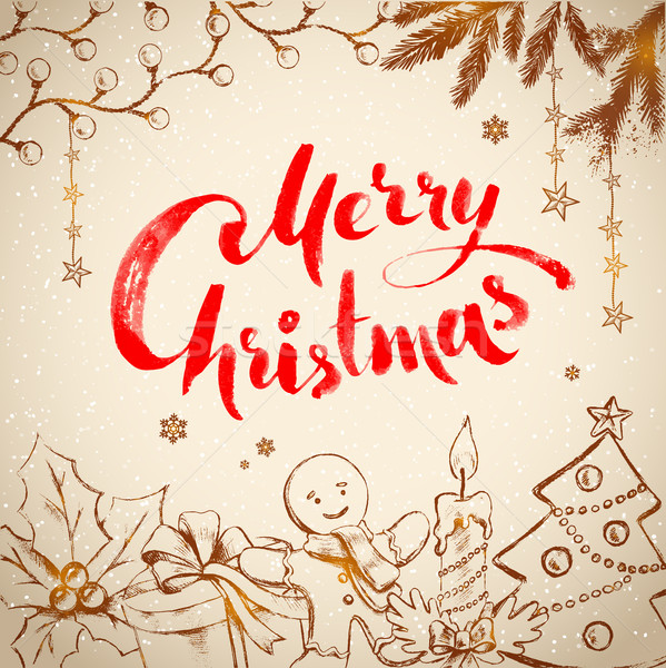 Vintage Christmas vector illustration Stock photo © Sonya_illustrations