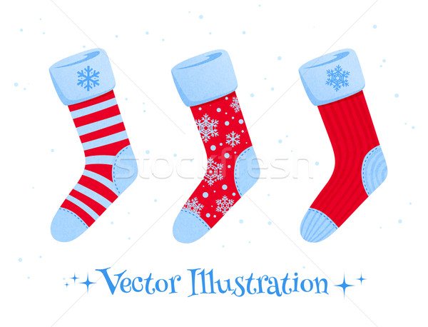 Set Weihnachten Socken Vektor Kunst Winter Stock foto © Sonya_illustrations