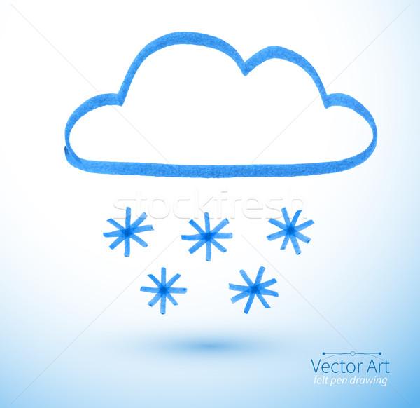 ペン 図面 雲 抽象的な デザイン にログイン ストックフォト © Sonya_illustrations