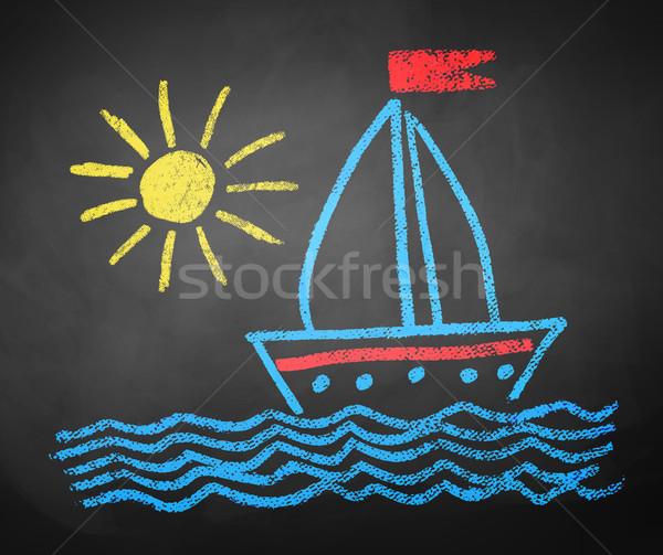 Tekening schip kinderen kleur zon Stockfoto © Sonya_illustrations