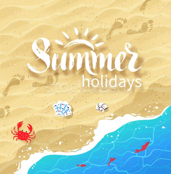 夏 言葉 ビーチ 手描き 海 サーフィン ストックフォト © Sonya_illustrations