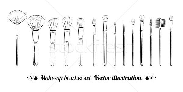 Makeup brushes kit.  Stock photo © Sonya_illustrations