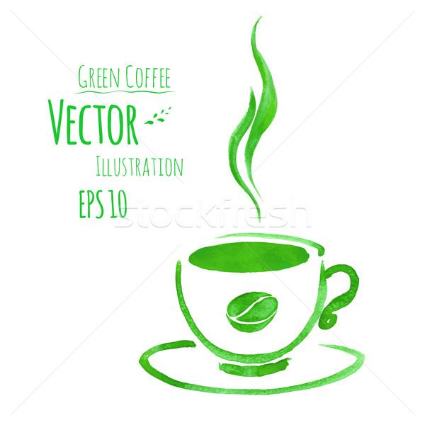 Fincan yeşil kahve fincanı kahve suluboya Stok fotoğraf © Sonya_illustrations