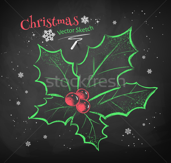 Christmas kleur krijt vector schets zwarte Stockfoto © Sonya_illustrations