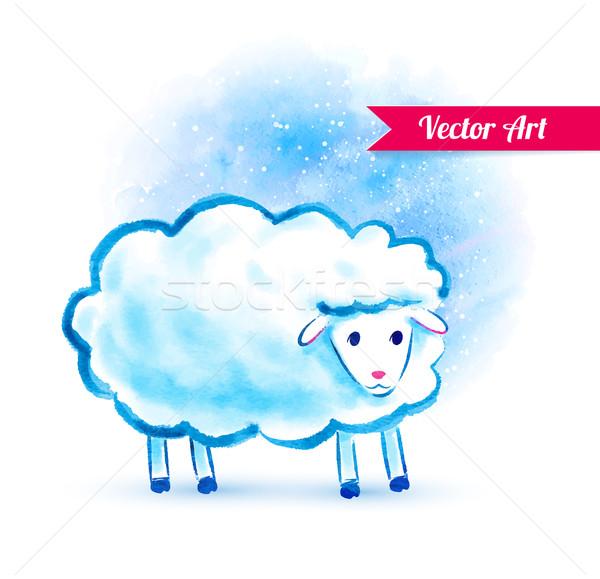 Сток-фото: Cute · акварель · овец · зима · дизайна · искусства