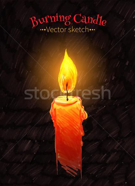 Felt pen drawing of burning candle. Stock photo © Sonya_illustrations