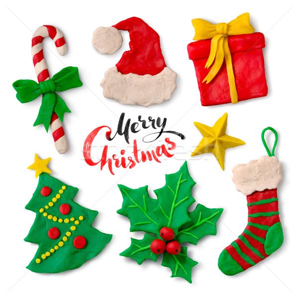 Karácsony szimbólumok fehér kéz színes gyűjtemény Stock fotó © Sonya_illustrations