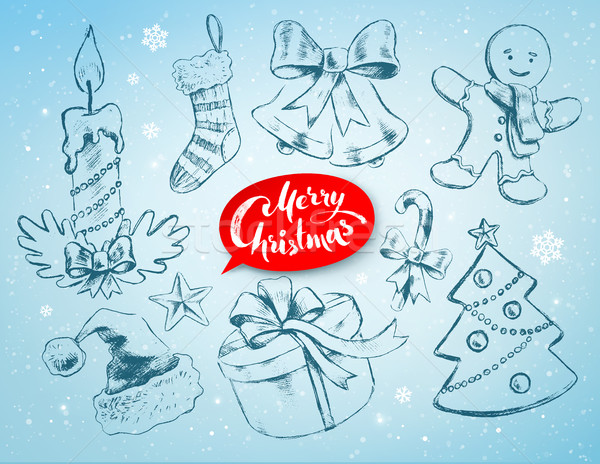 クリスマス セット ソフト 青 冬 手描き ストックフォト © Sonya_illustrations
