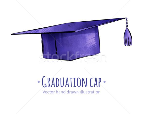 Afstuderen cap school kunst onderwijs Stockfoto © Sonya_illustrations