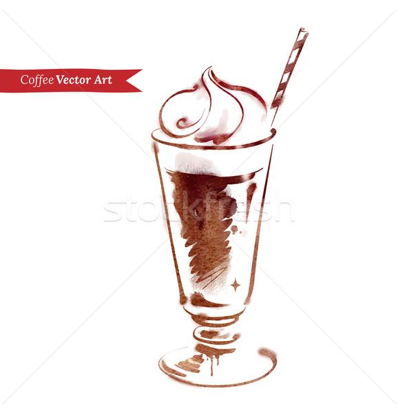 Jeges kávé vektor vízfesték rajz üveg Stock fotó © Sonya_illustrations