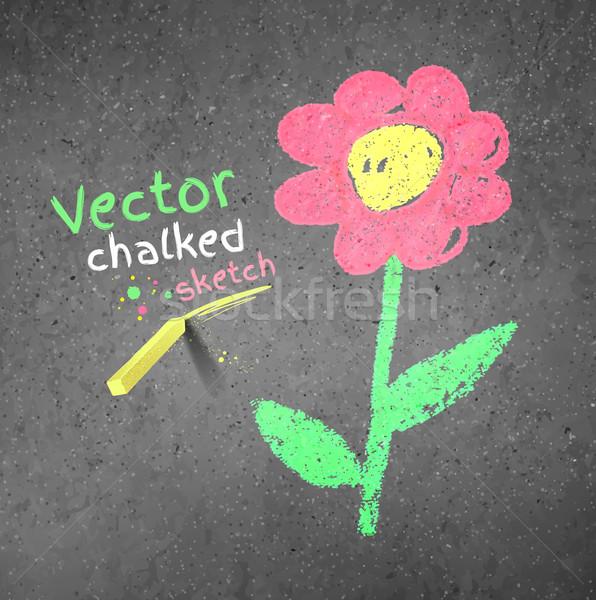 Chalk drawing of flower. Stock photo © Sonya_illustrations