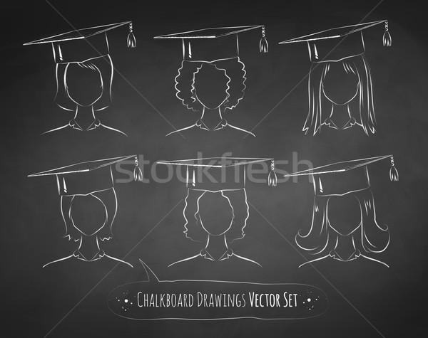 Chalkboard drawings of students. Stock photo © Sonya_illustrations