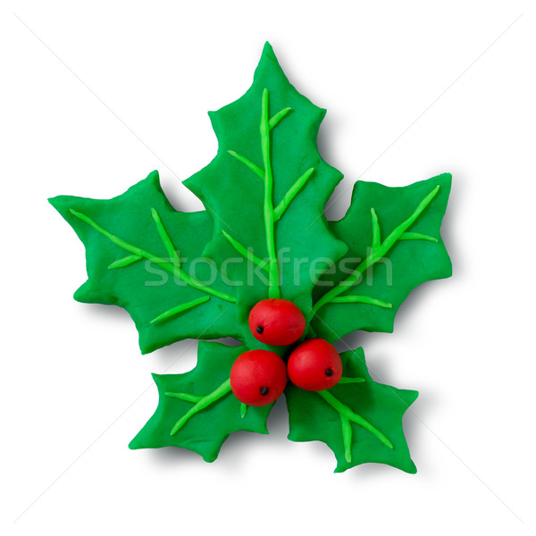 Plasticine figure of Christmas Holly Stock photo © Sonya_illustrations