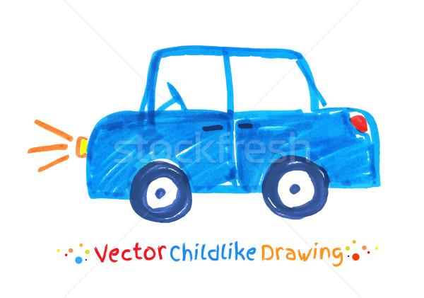 Felt pen childlike drawing of vehicle. Stock photo © Sonya_illustrations
