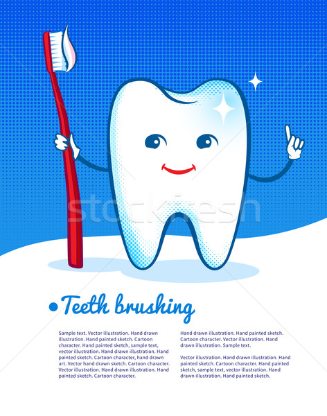 Happy tooth with toothbrush. Stock photo © Sonya_illustrations