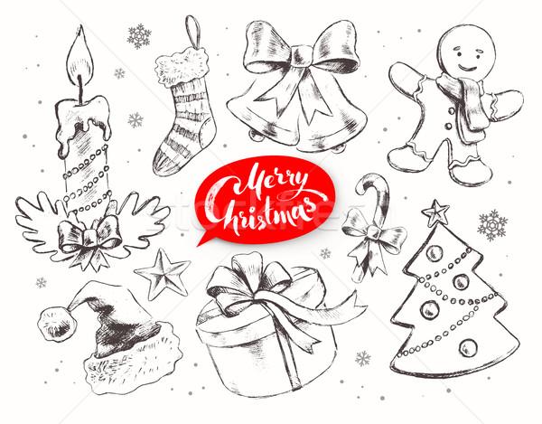 Navidad vintage vector establecer línea arte Foto stock © Sonya_illustrations