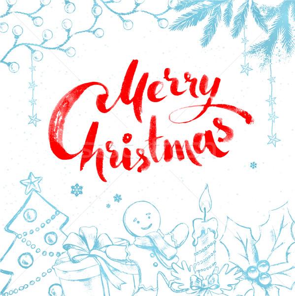Noel nesneler beyaz geleneksel kırmızı Stok fotoğraf © Sonya_illustrations