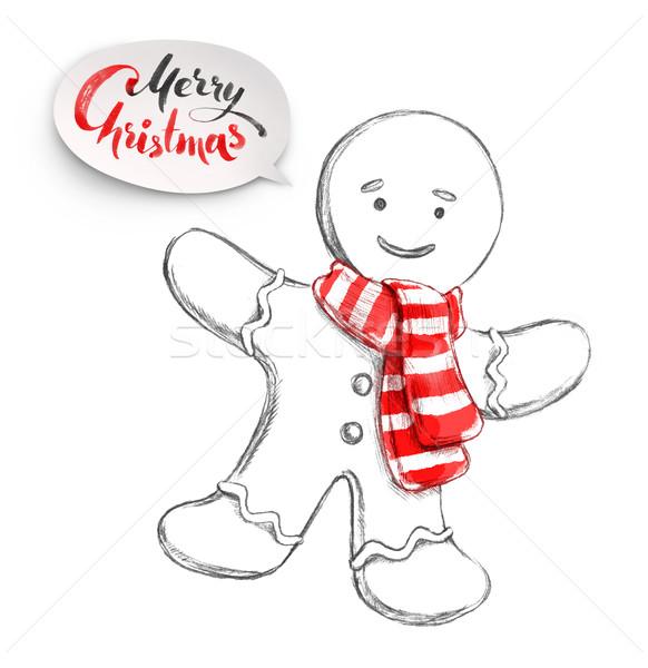 Stock fotó: Karácsony · mézeskalács · ember · kézzel · rajzolt · ceruza · vízfesték · illusztráció