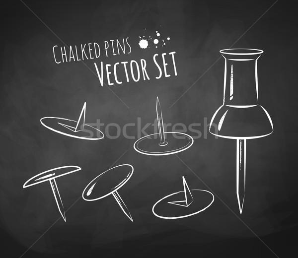 Chalkboard drawing of push pin. Stock photo © Sonya_illustrations