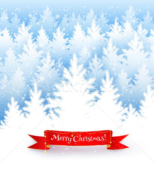 Cartão postal enfeitar floresta fita bandeira inverno Foto stock © Sonya_illustrations