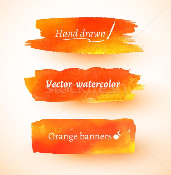Stok fotoğraf: Turuncu · suluboya · afişler · canlı · vektör · dizayn
