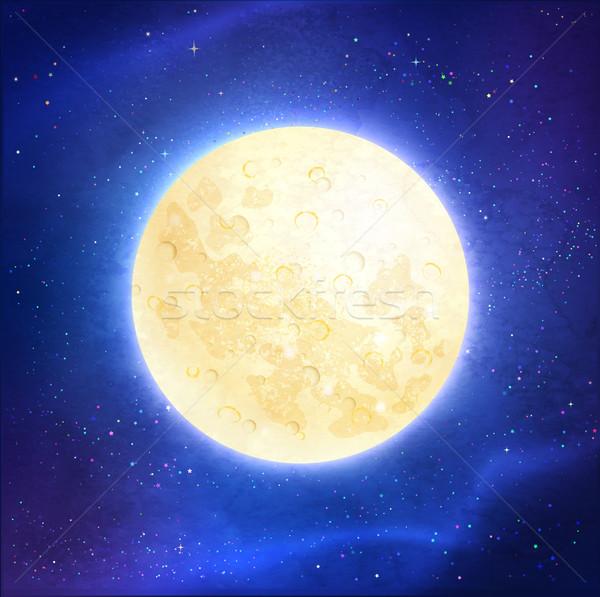 Volle maan ruimte donkere Blauw de kosmische ruimte sterren Stockfoto © Sonya_illustrations