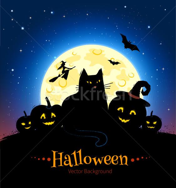 Mutlu halloween vektör ay Stok fotoğraf © Sonya_illustrations