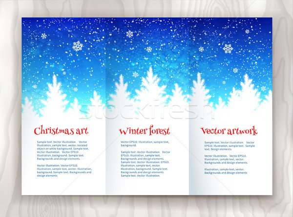 Navidad folleto plantilla de diseño invierno ataviar forestales Foto stock © Sonya_illustrations