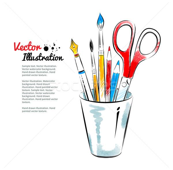 Brushes, pen, pencils and scissors in holder.  Stock photo © Sonya_illustrations