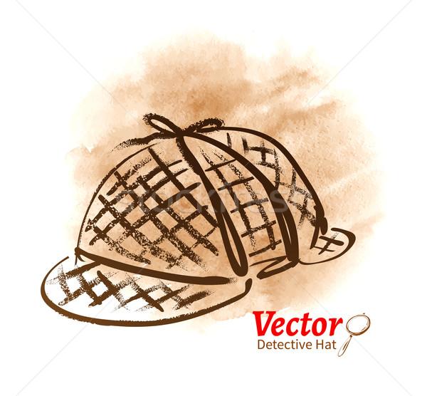 Detective hoed textuur hoofd oud papier Stockfoto © Sonya_illustrations