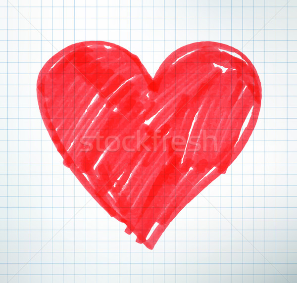 Felt pen drawing of Valentine heart.  Stock photo © Sonya_illustrations