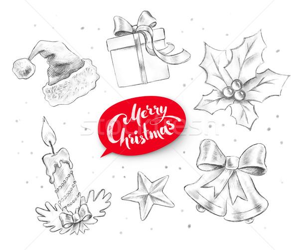 Collectie christmas objecten grafiet potlood Stockfoto © Sonya_illustrations