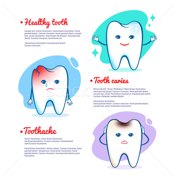 Tooth caries and healthy tooth concept Stock photo © Sonya_illustrations