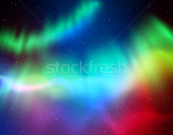 Vector illustration of northern lights Stock photo © Sonya_illustrations