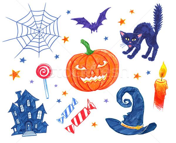 ハロウィン オブジェクト コレクション ペン 図面 ストックフォト © Sonya_illustrations