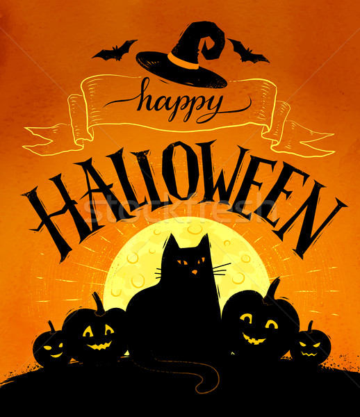 Feliz halloween cartão postal vetor lua gato preto Foto stock © Sonya_illustrations
