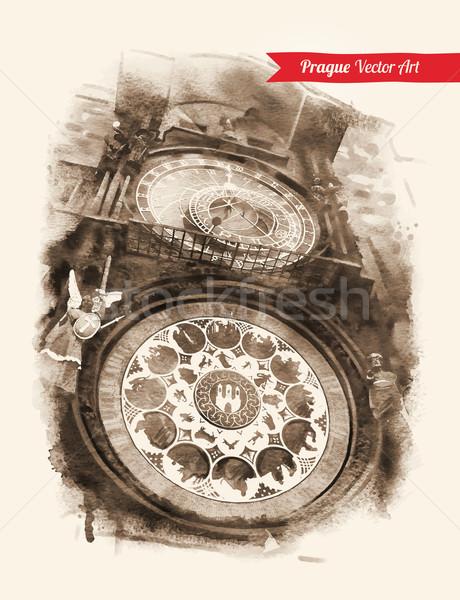 Astronomico clock Praga vintage cartolina Repubblica Ceca Foto d'archivio © Sonya_illustrations