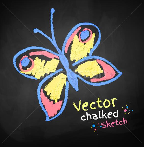 Kelebek çizim bahar soyut dizayn arka plan Stok fotoğraf © Sonya_illustrations