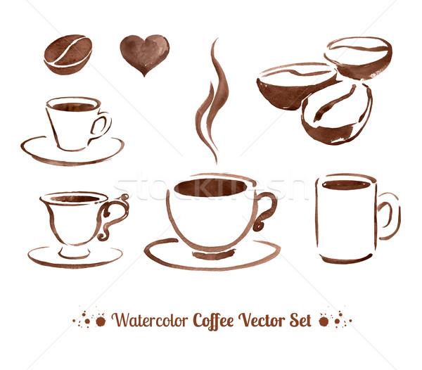 Vízfesték kávé vázlatos vektor szett kéz Stock fotó © Sonya_illustrations