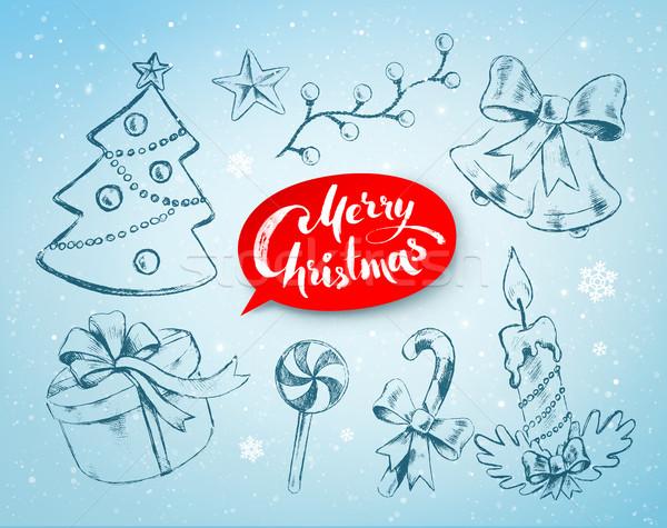 Navidad dibujado a mano línea arte vector establecer Foto stock © Sonya_illustrations