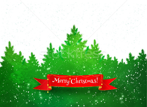 Winter landscape green background Stock photo © Sonya_illustrations