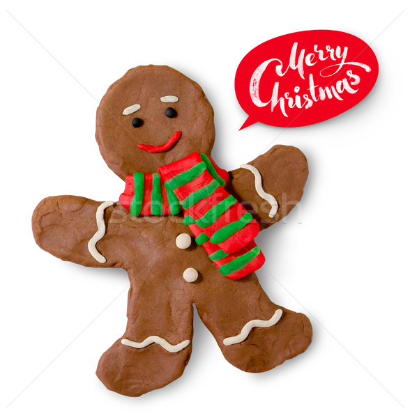 Gingerbread man cookie with lettering banner Stock photo © Sonya_illustrations