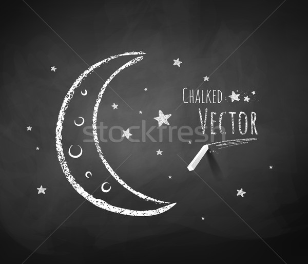 полумесяц звезды доске рисунок природы луна Сток-фото © Sonya_illustrations