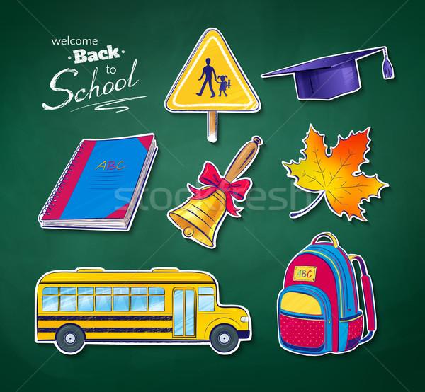 Okula geri vektör ayarlamak yeşil kara tahta doku Stok fotoğraf © Sonya_illustrations
